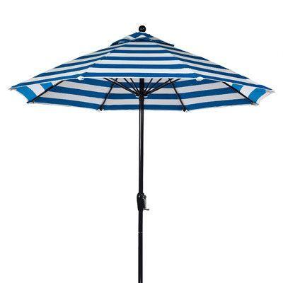 Frankford Umbrellas 9' Market Umbrella Fabric: Blue and White Stripe, Pole Type: Black Coated Aluminum Pole