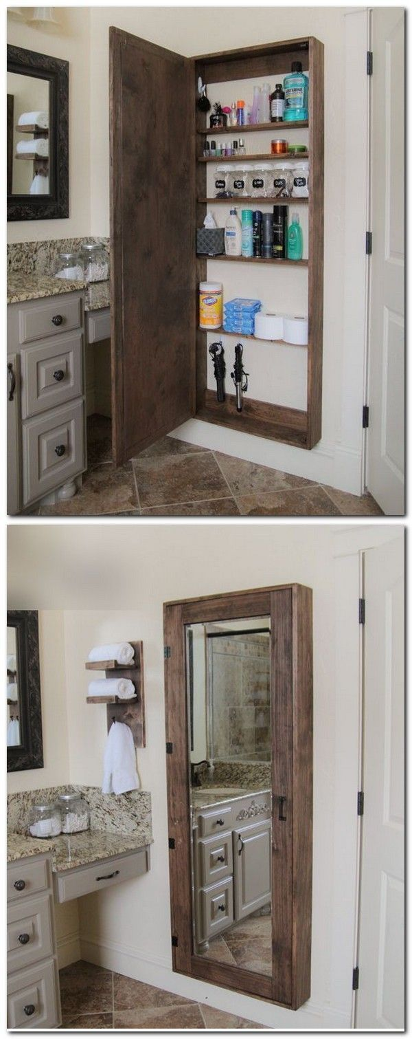 DIY Furniture Plans & Tutorials : Pallet Projects : Mirrored Medicine Cabinet Made From Pallets #DIYHomeDecorMirror