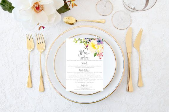 Wedding menus printable wedding menus wedding by Papierscharmants