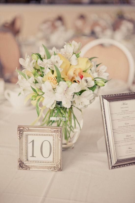 Romantic wedding style.  One main menu in a frame for the table.