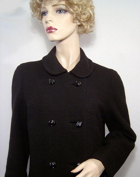 Stunning 1960s black ribbed faille wool coat  Medium by HerHeinous, $145.00