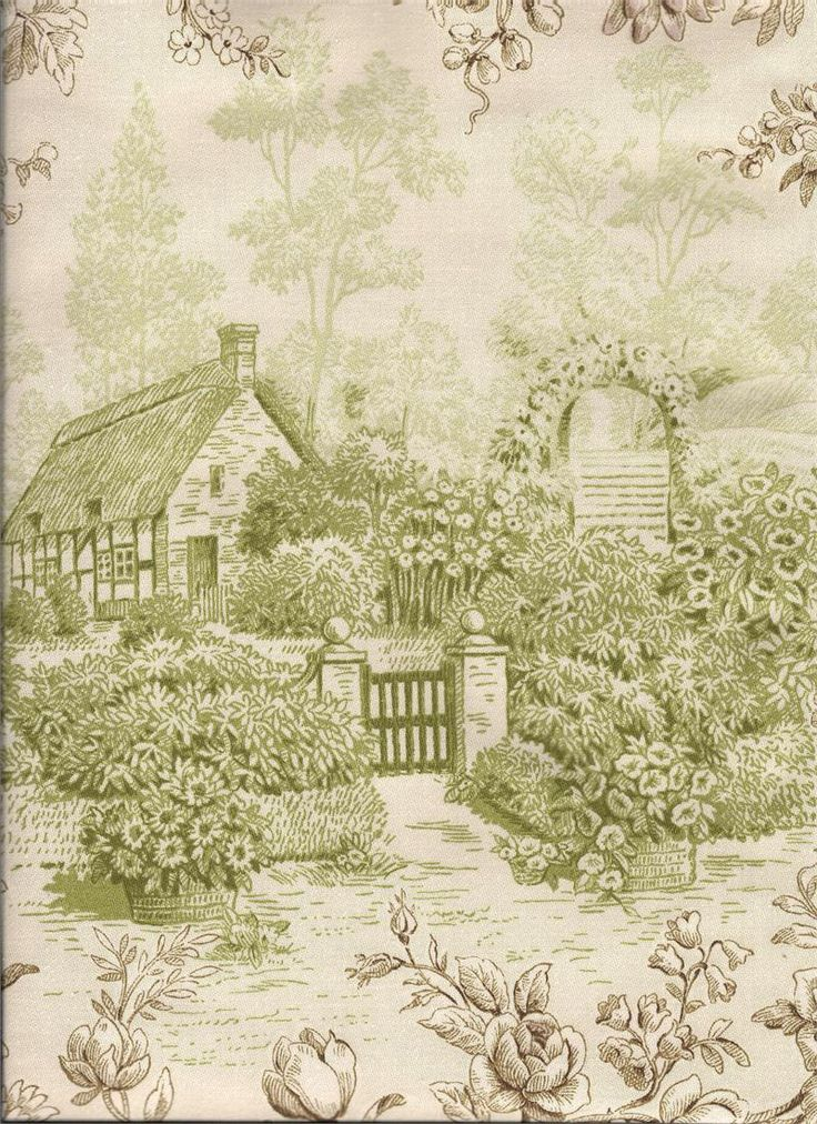 Kent garden in grass color depicts a farm/pastoral scene in a solid green color surrounded by brown floral accents on a cream background: for custom bedding, pillows and window treatments: valances, swags and curtain drapery panels