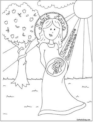 Immaculate conception coloring sheet catholic crafts for St valentine coloring pages catholic