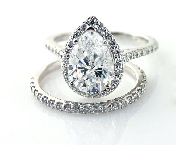 Moissanite Engagement Ring Diamond Halo Custom Pear by RareEarth. , via Etsy. anillos de compromiso | alianzas de boda | anillos de compromiso baratos http://amzn.to/297uk4t