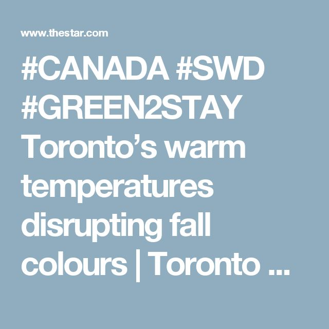 #CANADA #SWD #GREEN2STAY Toronto's warm temperatures disrupting fall colours | Toronto Star