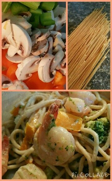 Yummy dill shrimp pasta...I have added a lot more veggies than the recipe and gave a little love with some garlic and spices   http://m.wholefoodsmarket.com/recipe/dilled-shrimp-pasta-salad