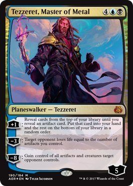 Magic: the Gathering - Aether Revolt - Tezzeret, Master of Metal:   A single individual card from the Magic: the Gathering (MTG) trading and collectible card game (TCG/CCG). This is of Mythic Rare rarity. From the Aether revolt set.This item will be ship on January 20, 2017