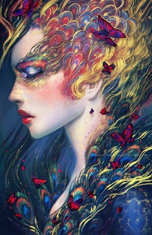 Woman in butterflies..
