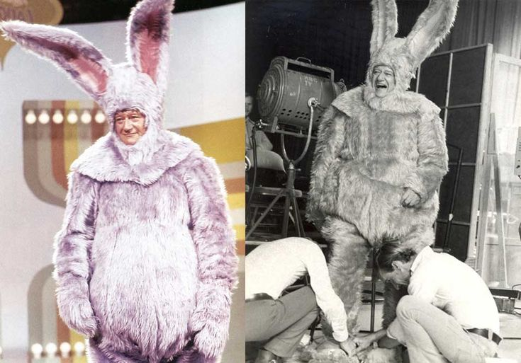 John Wayne in a bunny suit on the sketch comedy TV show Rowan Martins Laugh In | Rare and beautiful celebrity photos