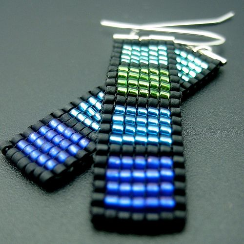 Earrings beadwoven in square stitch - woven to silver tubes and ear wires - part of my windows series