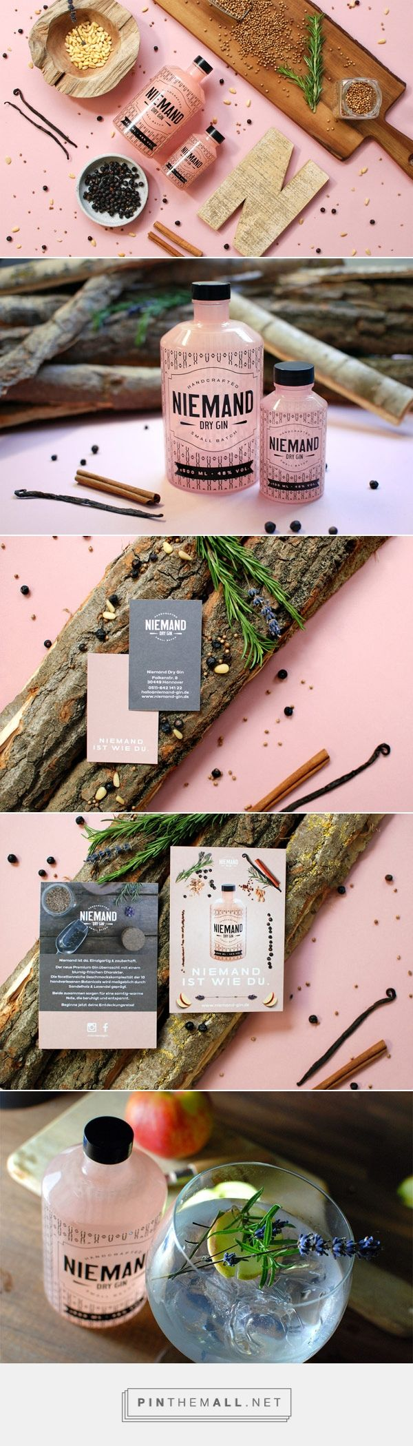 Niemand Dry Gin – Corporate Identity by Qoop via wenandthecolor curated by Packaging Diva PD. Hannover, Qoop was commissioned for the overall brand development including corporate design and identity, packaging, photography, and web design for Niemand Dry Gin.