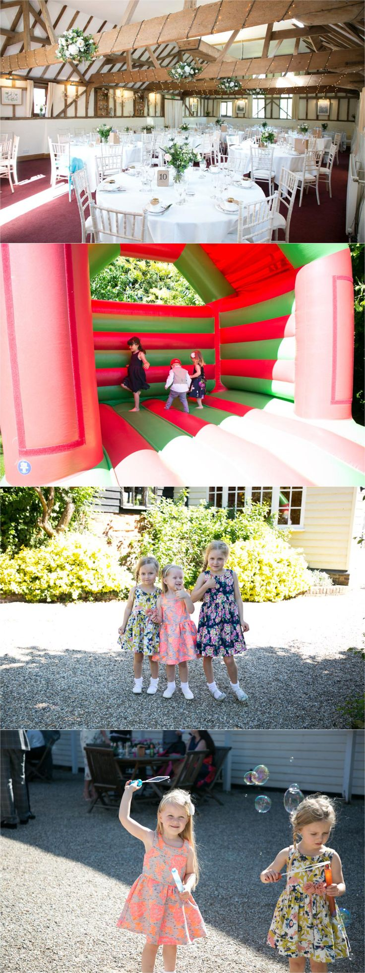 wedding photography at the reid rooms, featuring bouncy castle, kids blowing bubbles and room decor, essex