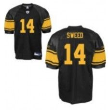 Steelers #14 Limas Sweed Black With Yellow Number Stitched NFL Jersey