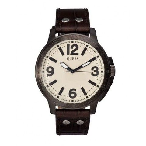 Guess Pumped Up Gunmetal With Brown Strap Men's Watch