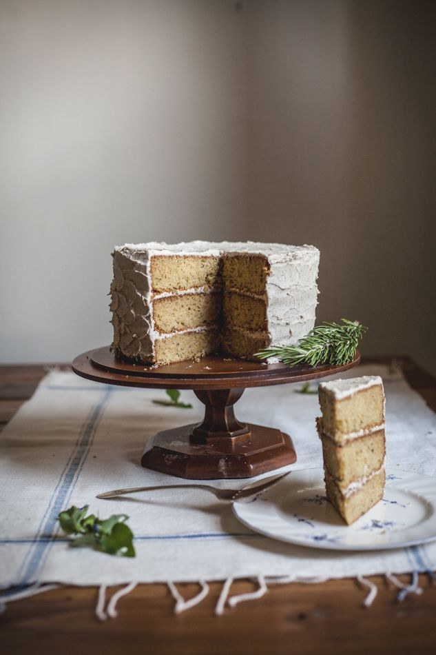 Rosemary Corn Cake with a Honey & Brown Butter Buttercream