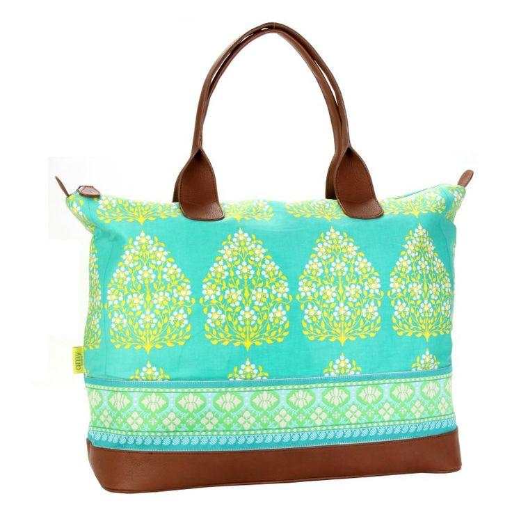 Amy Butler for Kalencom Marni Duffle Bag without Ribbon - Henna Tree Bay Leaf - AB118-HENNA-TREE-BAY-LEAF