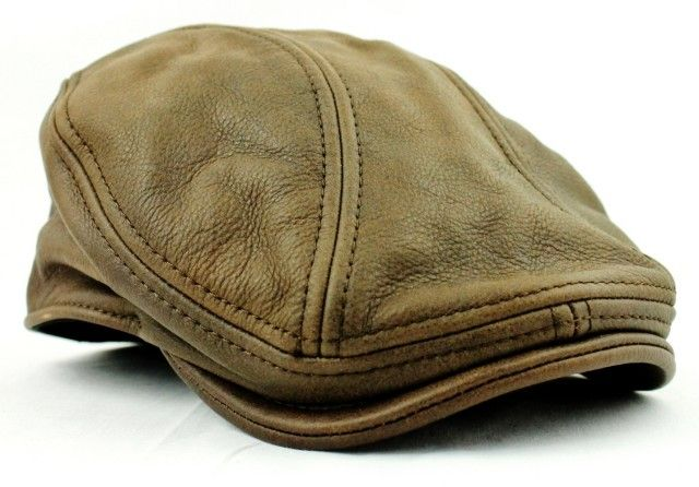 Stetson Mens Brown Leather Ivy Hat Newsboy Driver Cap S/M L/XL Gatsby Steampunk