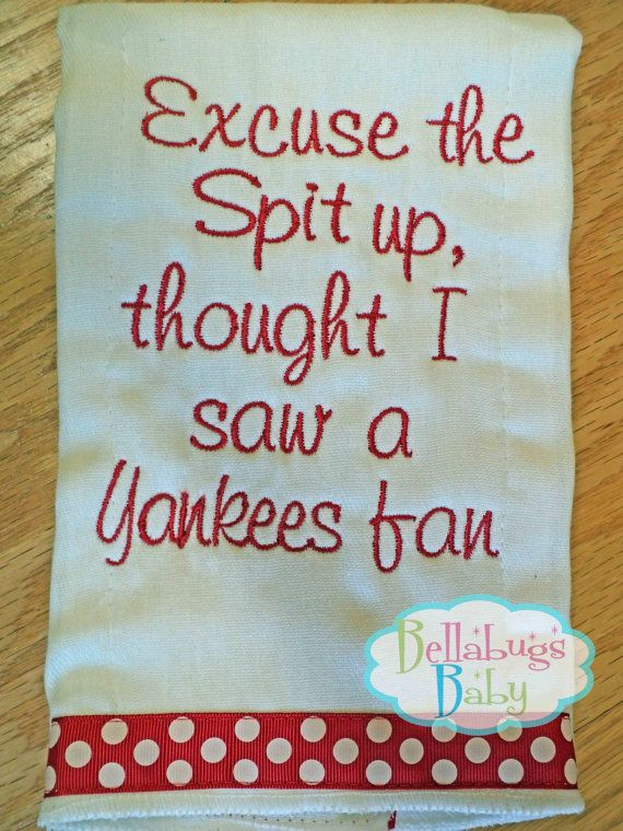 Excuse the Spit up - Boston Red Sox or your favorite team Monogrammed Baby Burp Cloth - Baseball