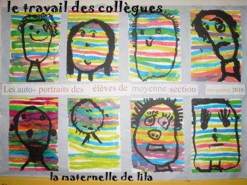 Autoportraits par les MS de ma collègue: lignes horizontales à l'encre, autoportrait à la gouache