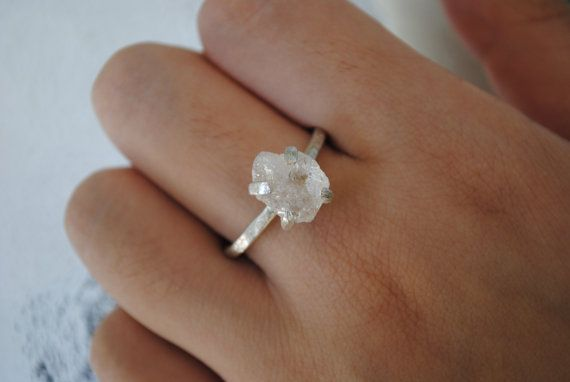 White, Yellow or Rose Gold Rough Diamond Prong Set 2 mm Engagement Ring