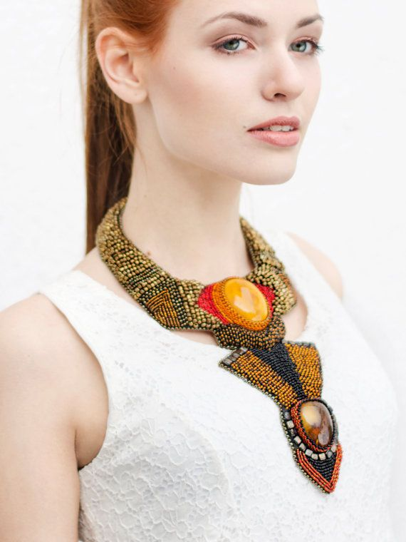 Fashion statement necklace - baltic amber - amber jewelries - amber necklace - large beadwork amber necklace - one of a kind jewelry - streetstyle - stylish woemen - by RasaVilJewelry on Etsy