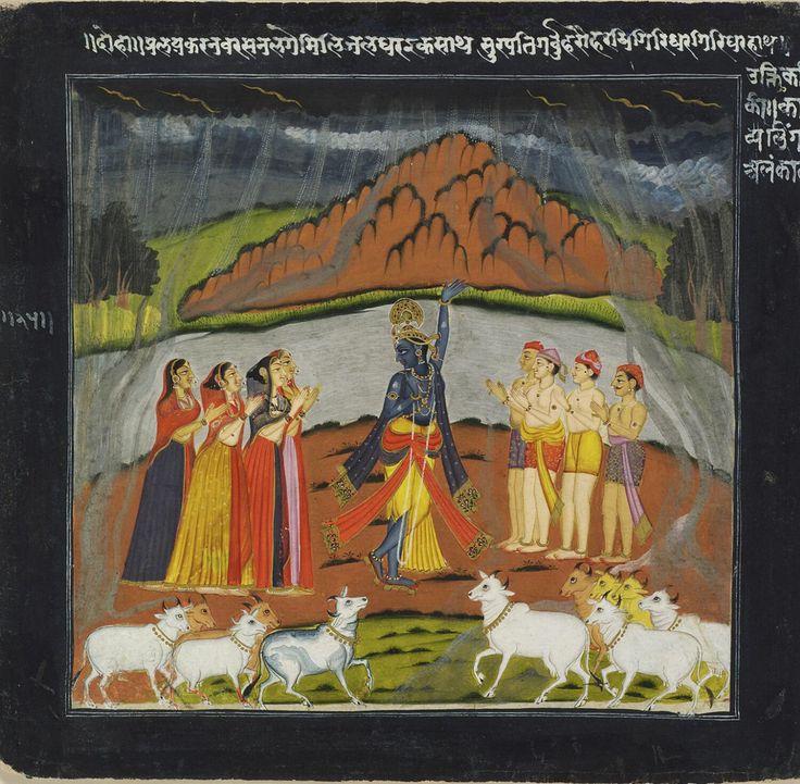 श्री कृष्ण holds up गोवर्धन पर्वत. Datia. c.1770. At Philadelphia Museum of Art