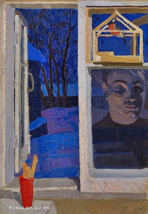 "Popkov Victor (USSR, 1932-1974) |Reflection in the window"" Self portrait, 1963.  1963 год Попков Виктор Ефимович (Россия, 1932–1974) «Отражение в окне. Автопортрет»"