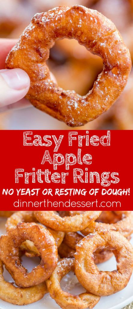 Apple Fritter Rings made with a pancake batter without yeast come ...