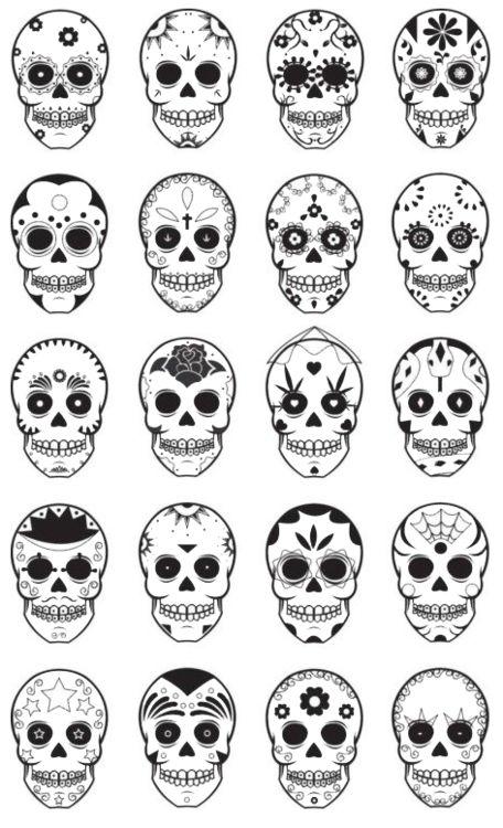 Templates for dia de los muertos, day of the dead, sugar skulls.