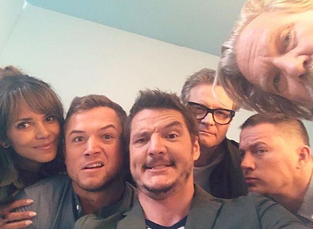 Kingsmen The Golden Circle: Halle Berry, Taron Egerton, Pedro Pascal, Colin Firth, Channing Tatum and Jeff Bridges at San Diego Comic Con 2017 SDCC (photo via Pedro's Instagram)