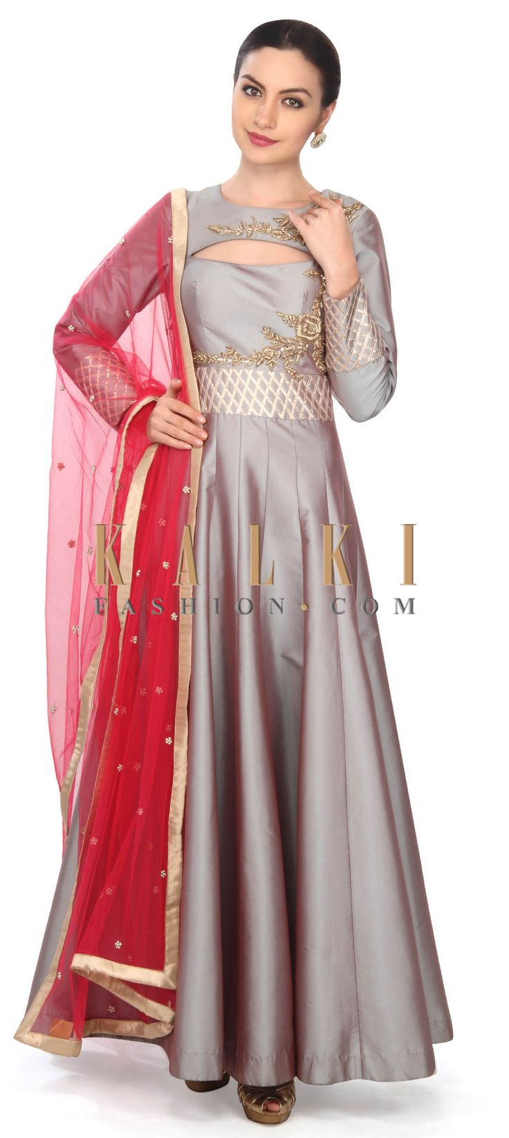 Grey anarkali suit adorn in zardosi embroidery only on Kalki