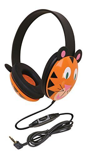 Califone 2810-TI Kids Stereo and PC Headphones, Tiger Des...