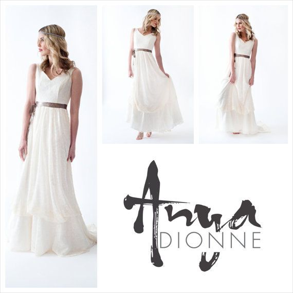 Boho Vintage Lace Wedding dress with straps by AnyaDionne on Etsy