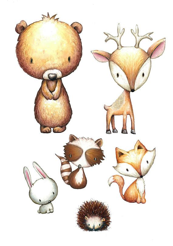 Nursery Woodland Animals Print Watercolor, set of 4, fox, rabbit, deer, raccoon, flowers, feathers,chevron, hand painted, woodland prints