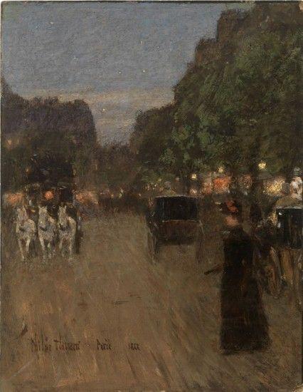Childe Hassam ilusta en 1888 un atardecer en el Bosque de Bolonia, gran parque de París. 'Electric Paris' (París eléctrico') explora la reacción de los artistas impresionistas cuando se generalizó el uso de la luz eléctrica en lugares públicos y hogares