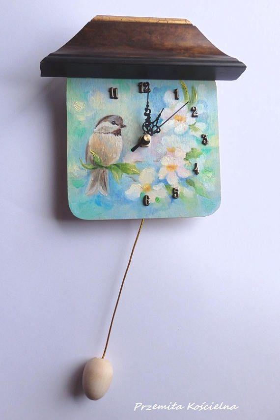 Little BIRD Hand painted CLOCK Funny Small Clock with egg #funny #clock #handmade #colorful #wallclock #homedecor #etsy #birds #paintedclock #CanisArtStudio