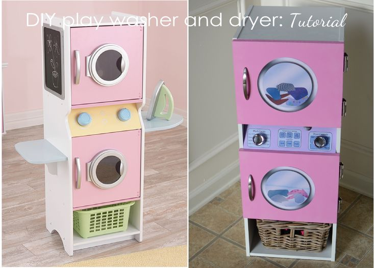 DIY Tutorial for a really cute play washer and dryer. Follow link in pin. http://partyperfectdesign.com/2015/01/15/tutorial-a-play-washer-and-dryer-for-my-daughter/