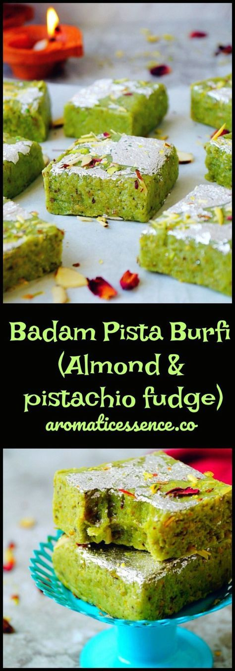 Soft, fudgy and melt in the mouth, Indian Badam pista burfi (almond & pistachio fudge)! It is made without mawa/khoya (evaporated milk solids). You just need few basic ingredients to make this burfi, which is ready within minutes. #burfi #diwalisweets #badampistaburfi #desserts #fudge @aromaticessence