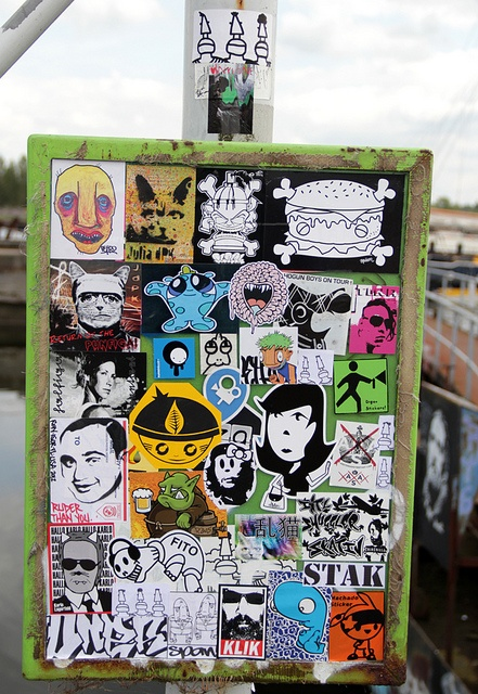 bulletin board with street tatoos