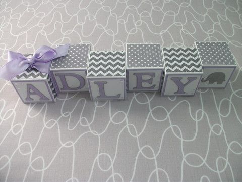 Baby Name Blocks - Gray Lavender
