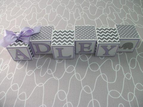 Baby Name Blocks - Gray Lavender