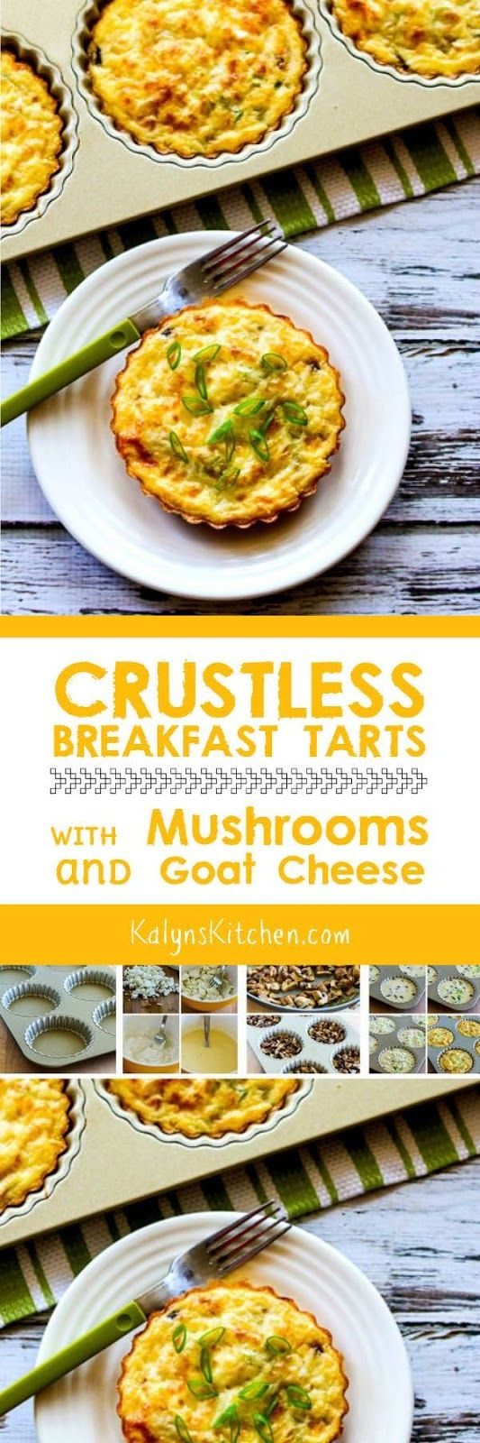 Crustless Breakfast Tarts with Mushrooms and Goat Cheese are low-carb, Keto, low-glycemic, gluten-free, meatless, and South Beach Diet friendly. These are delicious for a special breakfast, or make them on the weekend and reheat for a yummy breakfast during the week! [found on KalynsKitchen.com]