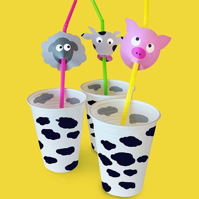 I dag är det bondgårdskalas på fixat! Gå in på länken i profilen om du är sugen på figurerna på sugröret och andra roliga idéer #landfixat #diy #gördetsjälv #pyssel #kalas #sugrör #djur