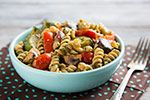 Thumbnail image for Warm Pasta Salad with Roasted Vegetables and Pesto Vinaigrette