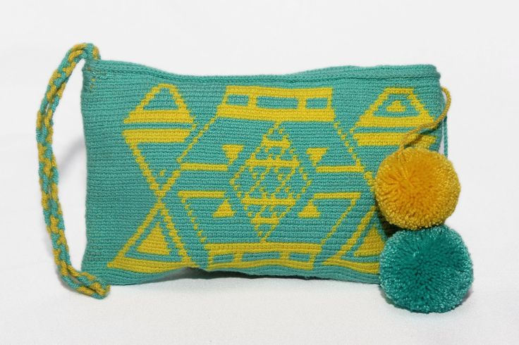 Hand-Woven Artesinal Colombian Wayuu Clutch Bag (Aqua/Yellow) - Bacano Bags and Hats