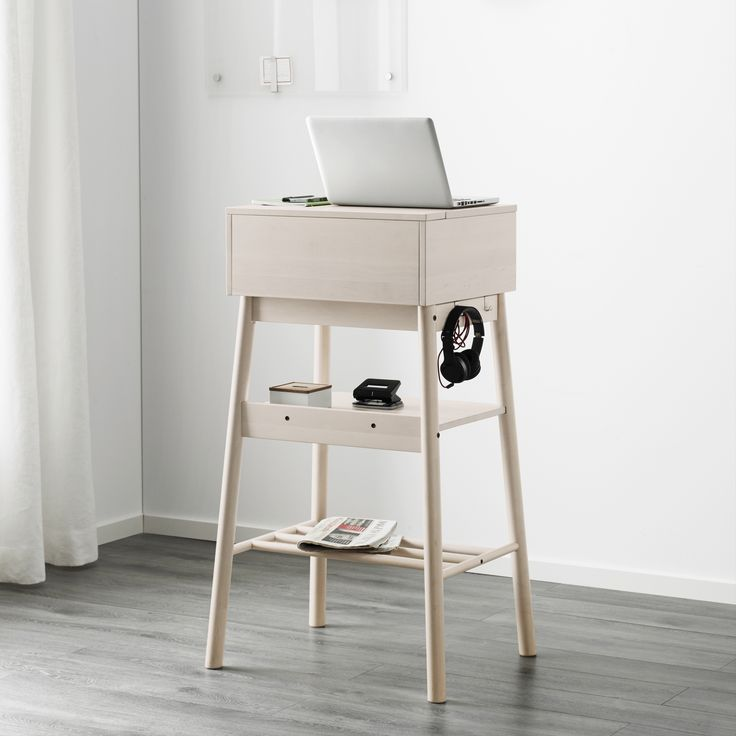 This standing desk is a modern version of a traditional writing desk. The desk is ideal as the information hub of the home. There's room for calendars, mai
