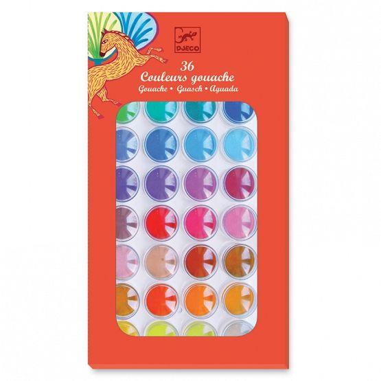 Djeco Farby gwasze 36 kolorów w pudełku | Dadum
