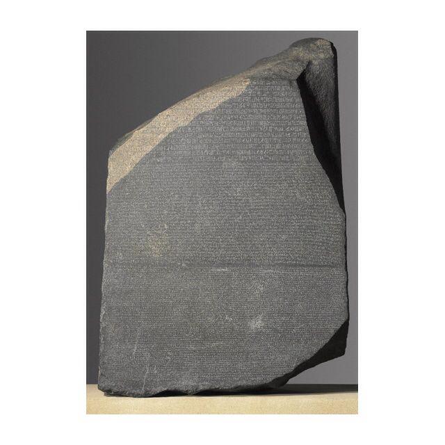 La Stele di Rosetta è una lastra in granodiorite e che riporta un'iscrizione, divisa in registri, con tre differenti grafie: geroglifico, demotico e greco. L'iscrizione è il testo di un decreto tolemaico in due lingue emesso nel 196 a.C.in onore del faraone Tolomeo V Epifane[1] in occasione del primo anniversario della sua incoronazione , fu scoperta a Rashid, antica città sul delta del Nilo,  nel 1799 da Pierre-François Bouchard .Si trova dall'1802 a Londra nel British Museum.