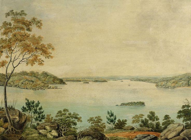 Joseph Lycett Eliza Point showing Captain Piper's Naval Villa and Garden c1820