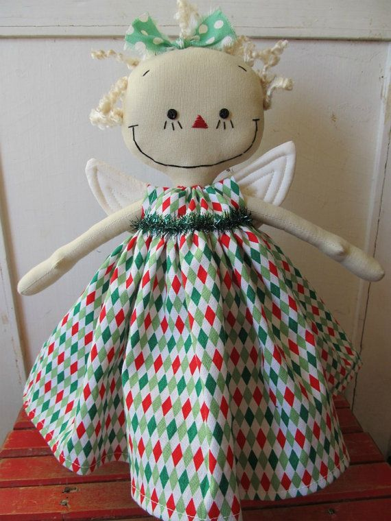Angel Christmas Tree Topper in Red Green and by SugarAndSpice